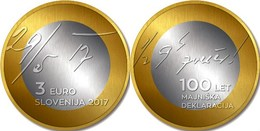 "ESLOVENIA  3€ 2.017  2017  BIMETALICA ""CENTENARIO DE LA DECLARACION DE MAYO""  SC/UNC T-DL-12.207 - Eslovenia"