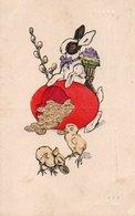 88Fo  Lapin Avec Hotte Oeuf Cassé Pieces De Monnaie Poussins Envoyée De Bucarest En 1915 - Animali Abbigliati