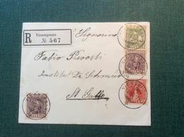 """Pro Juventute 1917 Trachten """"VICOSOPRANO"""" (Graubünden GR) Satz R-Brief (folk Costume Chapeaux 133-135 Textile Schweiz - Pro Juventute"""