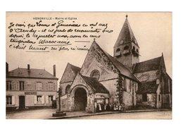 60 Henonville Mairie Et Eglise Cpa Carte Animée Animation Correspondance 1926 - Otros Municipios