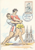 D34739 CARTE MAXIMUM CARD FD 1958 FRANCE - WRESTLING LUTTE BRETONNE CP ORIGINAL - Wrestling