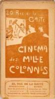 Programme Cinema Des Milles Colonnes - 20 Rue De La Gaite (13 Films)  - (28050) - Programmes