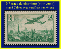 POSTE AÉRIENNE N° 14 - AVION SURVOLANT PARIS 1936 - N* TRACE DE CHARNIÈRE - SIGNÉ CALVES AVEC CERTIFICAT D'AUTHENTICITÉ - Poste Aérienne