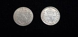 Lot De 2 : Pièce De Monnaie Grande Bretagne Reine VICTORIA 3  1895 Et 1899 ( Argent Silver ) Couronne - 1816-1901 : Frappes XIX° S.