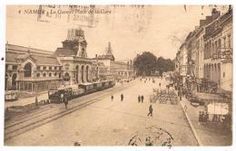 CPA : NAMUR - Gare Et Place De La Gare - Tramway Et Hôtels - Verrières - Travaux à La Voie De Tram - Namur