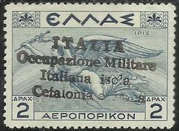 CEFALONIA E ITACA 1941 POSTA AEREA AIR MAIL MITOLOGICA DRACME 1d MNH FIRMATO SIGNED - 9. Occupazione 2a Guerra (Italia)