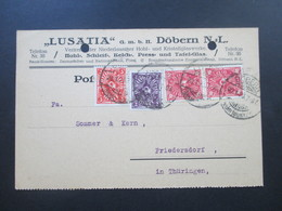 DR Infla 20.1.1923 Posthorn MiF Firmenkarte Lusatia Döbern Niederlausitz Kristallglaswerke / Glashähne In Wiskybarrels - Briefe U. Dokumente