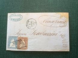 """Strubel Brief """"BRUSIO 1856"""" (Graubünden GR) > Vicosoprano (Schweiz Cover - 1854-1862 Helvetia (Ungezähnt)"""