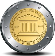 """BÉLGICA  2€ 2.017  2017  Bimetálica """"200º Aniversario De La Universidad De GANTE""""  SC/UNC T-DL-12.215 - Belgium"""