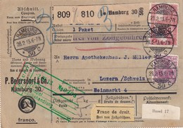 ALLEMAGNE 1913 COLIS POSTAL DE HAMBURG POUR LUCERNE - Deutschland