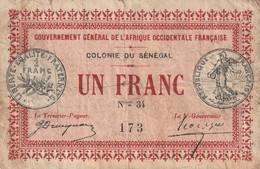 Sénégal Billet De 1 Francs 1917  RARE - Sénégal