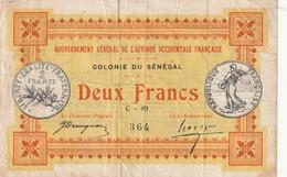 Sénégal Billet De 2 Francs 1917  RARE - Sénégal