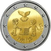 """MALTA  2€ 2.017  2017  Bimetálica """"Los Niños Y La Solidaridad «Paz» """"  SC/UNC T-DL-12.216 - Malte"""