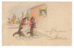 """Petite Carte """" Bonne Année """", Chats - Vieux Papiers"""