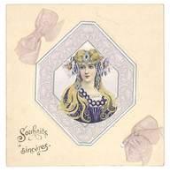Petite Carte Art Nouveau Femme En Médaillon ( Dorée, Gaufrée, Ajoutis Rubans ) - Vieux Papiers