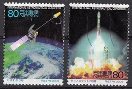 Giappone 2005 Sc. 2936-2937 Congresso Astronautica Fukuoka Satellite Himawari-6 - H-IIA Rocket Nippon Japan - Astronomùia