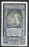 """Italia, 1932 Soc. """"DAnte Alighieri"""", P. Aerea, 100L Azzurro E Oliva # Michel 413 - Scott C34 - Sassone A41 NUOVO** NH - 1900-44 Victor Emmanuel III."""
