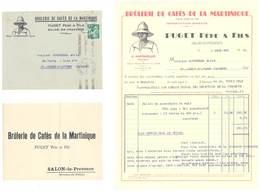 Brûlerie De Cafés De La Martinique, Puget Père & Fils Salon De Provence, 2 Enveloppes + Facture, Adressé En Lozère - Publicités