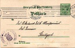 """Württemberg Amtl.Ganzs.-Dienstpostkarte """"Königreich Württemberg"""" DP 29, 5 Pf Grün, Gel. 12.9.1910 ULM - Wurtemberg"""