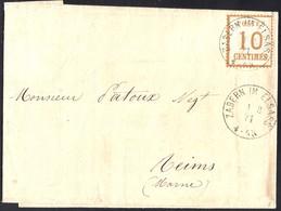 Timbre Alsace-Lorraine N°5 Seul Sur Lettre De Saverne Pour Reims Du 01/03/1871    BURELAGE RENVERSE - Alsace-Lorraine