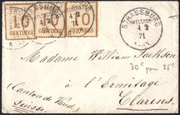 Timbre Alsace-Lorraine N°5 ( 3 Ex. ) Sur Lettre De Strasbourg Pour Clarens ( Suisse ) Du 04/02/1871    BURELAGE RENVERSE - Alsace-Lorraine