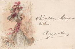 Cpa 2 Scans Type Vienne  Belle élégante Chapeau Fleurs Manchon - Illustrateurs & Photographes