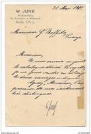 AUTOGRAFO WILHELM JUNK SU CARTOLINA CON FRANCOBOLLO W.J. DEUTSCHES REICH 1905 - FP - Autographs