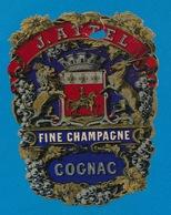 ETIKET  FINE CHAMPAGNE COGNAC - J.ATTEL ( ABIME ) COLLE SUR PAPIER BLEU 13 X 9.5 CM - Champagne