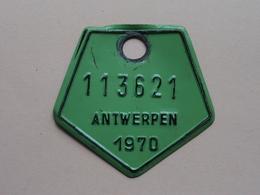 FIETSPLAAT / PLAQUE Vélo ( Antwerpen Nr. 113621 ) Anno 1970 ( België ) ! - Placas De Matriculación