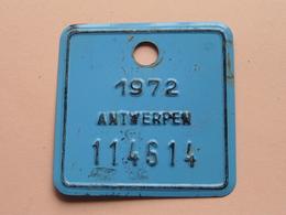 FIETSPLAAT / PLAQUE Vélo ( Antwerpen Nr. 114614 ) Anno 1972 ( België ) ! - Number Plates