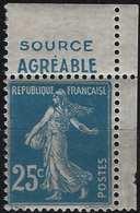 Type Semeuse Carnet N° 26 CDFeuille ** 25c Bleu Bande Pub  Vichy : Source Agréable...superbe - Carnets