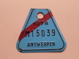 FIETSPLAAT / PLAQUE Vélo ( Antwerpen Nr. M15039 ) Anno 1974 ( België ) ! - Plaques D'immatriculation