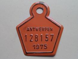 FIETSPLAAT / PLAQUE Vélo ( Antwerpen Nr. 128157 ) Anno 1975 ( België ) ! - Kennzeichen & Nummernschilder