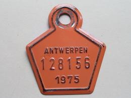 FIETSPLAAT / PLAQUE Vélo ( Antwerpen Nr. 128156 ) Anno 1975 ( België ) ! - Placas De Matriculación