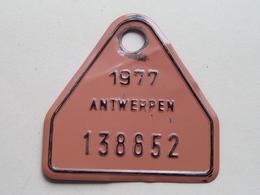 FIETSPLAAT / PLAQUE Vélo ( Antwerpen Nr. 138852 ) Anno 1977 ( België ) ! - Kennzeichen & Nummernschilder