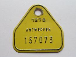 FIETSPLAAT / PLAQUE Vélo ( Antwerpen Nr. 157073 ) Anno 1978 ( België ) ! - Plaques D'immatriculation