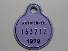 FIETSPLAAT / PLAQUE Vélo ( Antwerpen Nr. 153712 ) Anno 1979 ( België ) ! - Plaques D'immatriculation