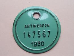 FIETSPLAAT / PLAQUE Vélo ( Antwerpen Nr. 147567 ) Anno 1980 ( België ) ! - Number Plates