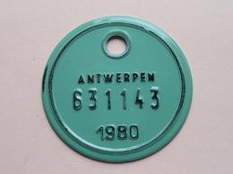 FIETSPLAAT / PLAQUE Vélo ( Antwerpen Nr. 631143 ) Anno 1980 ( België ) ! - Plaques D'immatriculation