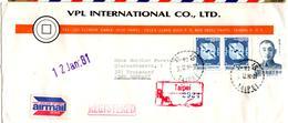 Lettre Par Avion Recommandée De Taipei (30.12.1980) Pour Troisdorf - 1945-... République De Chine