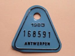 FIETSPLAAT / PLAQUE Vélo ( Antwerpen Nr. 168591 ) Anno 1983 ( België ) ! - Number Plates