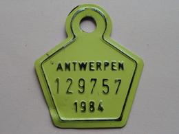 FIETSPLAAT / PLAQUE Vélo ( Antwerpen Nr. 129757 ) Anno 1984 ( België ) ! - Number Plates