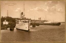 ALTE POSTKARTE INSEL RÜGEN SASSNITZ HAFENBILD Goldrahmen Goldschrift Bromogold Dampfer Steam Ship Ansichtskarte Postcard - Ruegen