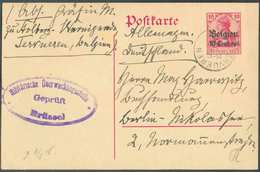 E.P. Carte 10 Centimes S/10pfg, Obl. Sc TERVUEREN 12.V.16 Vers Berlin + Censure De Bruxelles. - Superbe  - 15005 - Oorlog 14-18