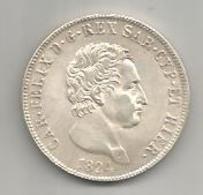 Italia, Regno Di Sardegna, Carlo Felice, Scudo Ag., 5 Lire 1824. Riconio, Restike. - …-1861 : Voor De Hereniging