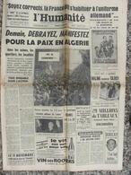 Journal L'Humanité (26 Oct 1960) Debrayez Pour La Paix En Algérie - Halimi - Salan - Boricky - Bourges Théâtre - Kranten