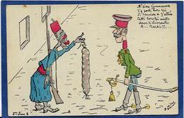 CPA Négritude Satirique Caricature Guerre 14-18 Patriotique Germany Kaiser écrite - Satirische