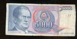 YOUGOSLAVIE: 5000 DINARA - USAGÉ - Yougoslavie