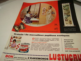 ANCIENNE PUBLICITE PATE ALIMENTAIRE  LUSTUCRU  PAPILLLONS 1965 - Posters