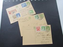 CSSR 1924 / 25 Ganzsachen Mit Zusatzfrankaturen! 1x Als Einschreiben / Rekomandirt / Reko Seltene Verwendung!! - Tschechoslowakei/CSSR